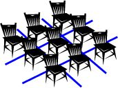chairs in a 3x3 arrangement. Lines between on floor in tic tac toe