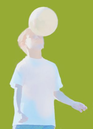 Abstract image of child heading a football
