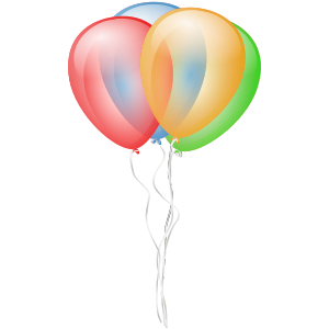Three coloured balloons