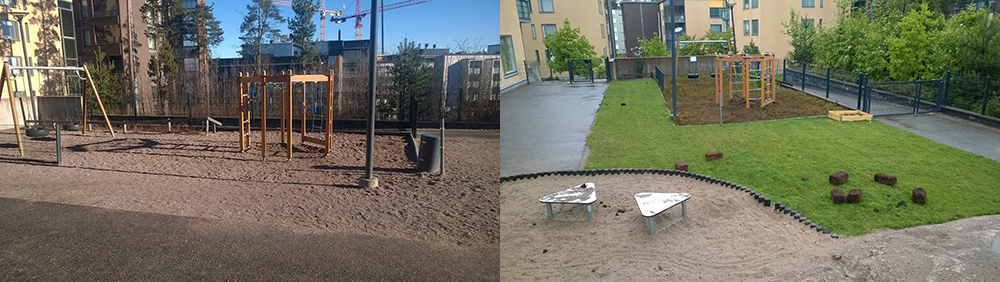 Before and after pictures of playing area with dirt and paving before, and after grassed over area with planters and greenery. (image copyright of Natural Resources Institute Finland (Luke))
