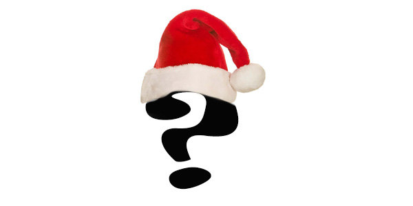 Text question mark wearing a santa hat
