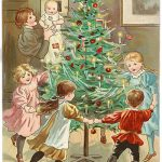 Old hand painted image of children dancing around a Christmas tree.
