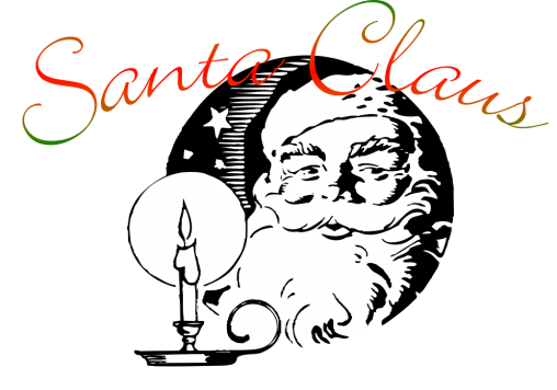 Drawn Image of Santa Claus and candle