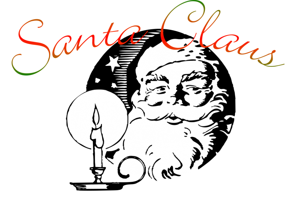 Drawn Image of Santa Claus and candle