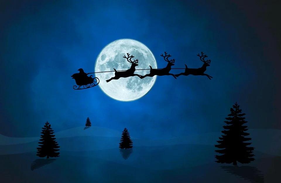 Silhouette of Santa reindeer and sleigh against night sky