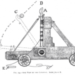 Old Illustration a catapult construction
