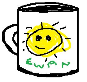 Sketch of a mug with a sun and name Ewan on it