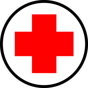 Red cross against white background - First-Aid symbol