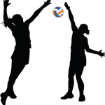Silhouette of two individuals playing netball