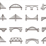 Simplified line drawings/diagrams of 12 bridges