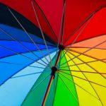 Rainbow coloured umbrella