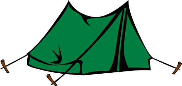 Drawing of a green A frame tent.
