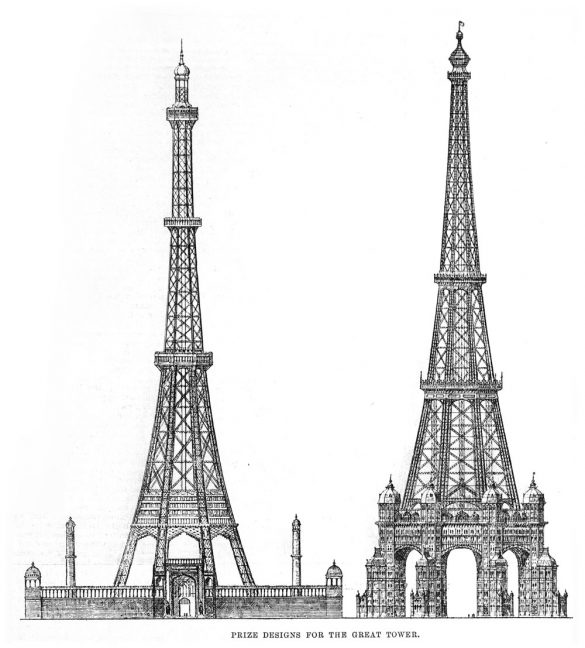 sketches of two tower designs of the 1890 tower competition