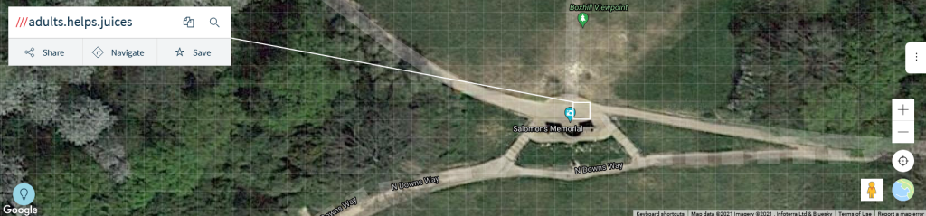 image of a what3words used to locate a point at Box Hill, Surrey